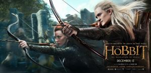 The Hobbit Desolation of Smaug Tauriel & Legolas banner