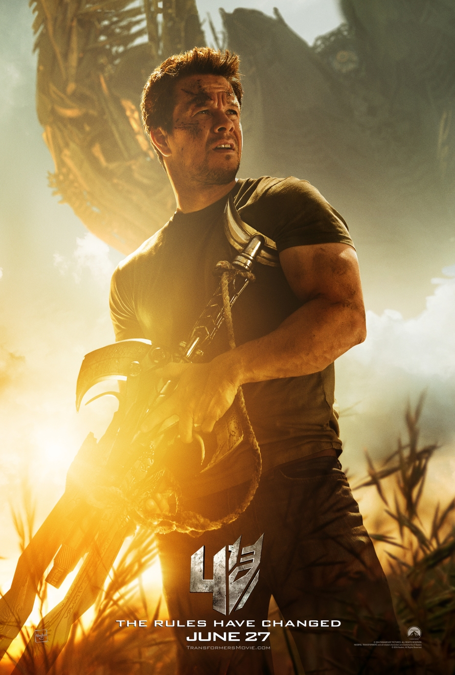 transformers age of extinction mark wahlberg poster hires