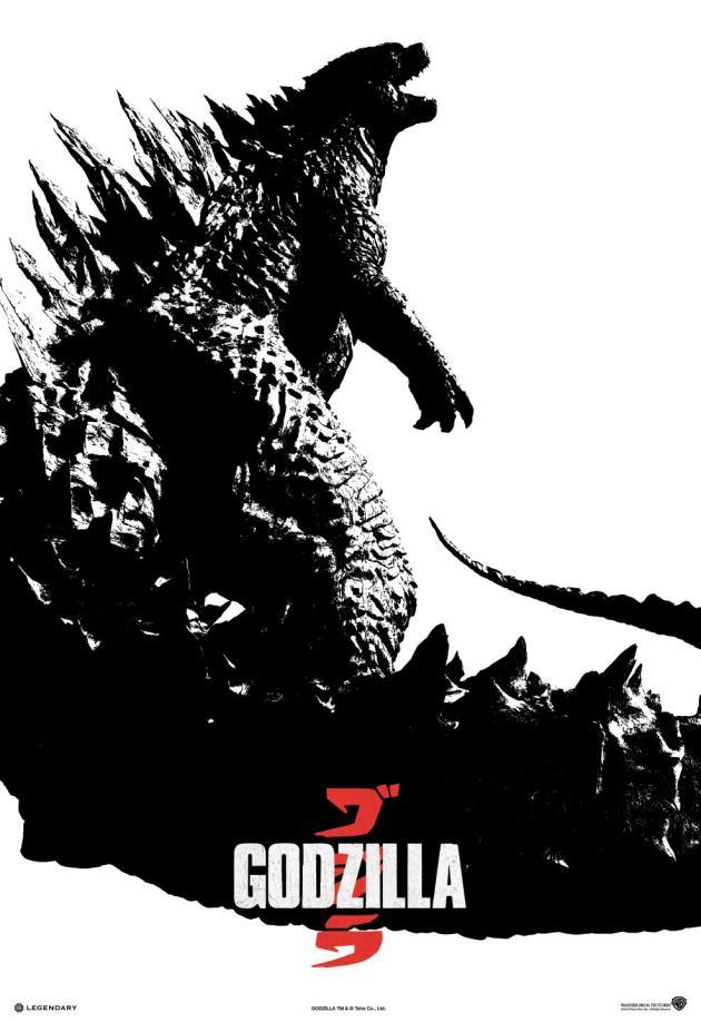 godzilla back and white poster