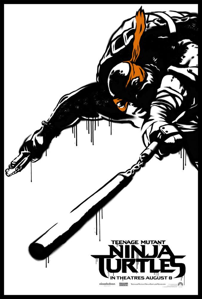 Teenage Mutant Ninja Turtle Street Art Poster Michaelangelo