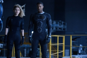 "This photo provided by Twentieth Century Fox shows, Kate Mara, left, as Sue Storm, and Michael B. Jordan as Johnny Storm, in a scene from the film, ""Fantastic Four,"" releasing in U.S. theaters on Aug. 7, 2015. The Fox panel is held on Saturday, July 11, 2015, at the San Diego Convention Center during the Comic-Con International. (Ben Rothstein/Twentieth Century Fox via AP) ORG XMIT: CAET221"